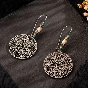 Jewelry - 5/$25 Circular boho beaded metal drop earrings